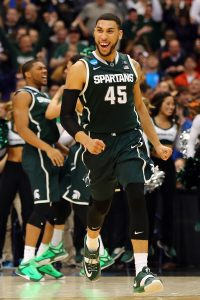 SYRACUSE, NY - MARCH 27: Denzel Valentine #45 of the Michigan State Spartans reacts after a basket in the second half of the game against the Oklahoma Sooners during the East Regional Semifinal of the 2015 NCAA Men's Basketball Tournament at the Carrier Dome on March 27, 2015 in Syracuse, New York. (Photo by Elsa/Getty Images)
