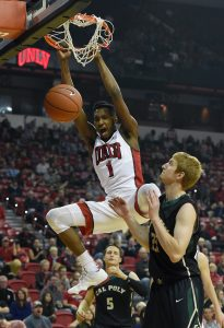 LAS VEGAS, NV - NOVEMBER 13: Derrick Jones Jr. #1 of the UNLV Rebels dunks against Luke Meikle #21 of the Cal Poly Mustangs during their game at the Thomas & Mack Center on November 13, 2015 in Las Vegas, Nevada. UNLV won 74-72. (Photo by Ethan Miller/Getty Images)