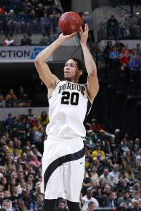 INDIANAPOLIS, IN - MARCH 12: A.J. Hammons #20 of the Purdue Boilermakers shoots against the Michigan Wolverines in the semifinals of the Big Ten Basketball Tournament at Bankers Life Fieldhouse on March 12, 2016 in Indianapolis, Indiana. (Photo by Joe Robbins/Getty Images)