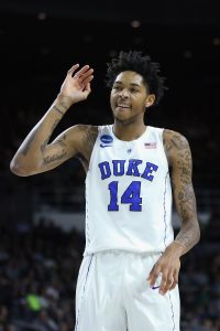 PROVIDENCE, RI - MARCH 17: Brandon Ingram #14 of the Duke Blue Devils reacts in the first half against the North Carolina-Wilmington Seahawks during the first round of the 2016 NCAA Men's Basketball Tournament at Dunkin' Donuts Center on March 17, 2016 in Providence, Rhode Island. (Photo by Jim Rogash/Getty Images)